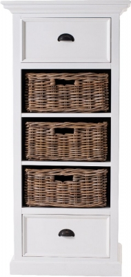 Nova Solo Halifax Grand White 3 Basket Storage Unit