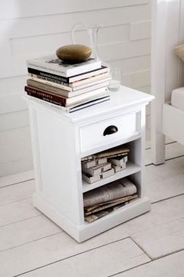 Nova Solo Halifax White Bedside Table with Shelves