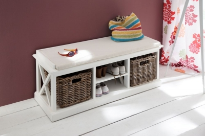 Nova Solo Halifax White 2 Basket Bench without Cushion