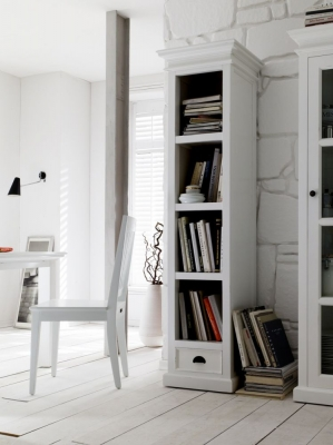 Nova Solo Halifax White Bookshelf with Drawer