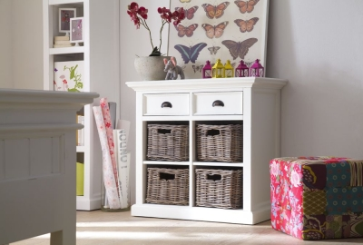 Nova Solo Halifax White 4 Basket Small Buffet