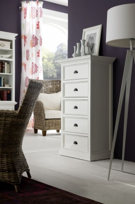 Nova Solo Halifax White 5 Drawer Chest