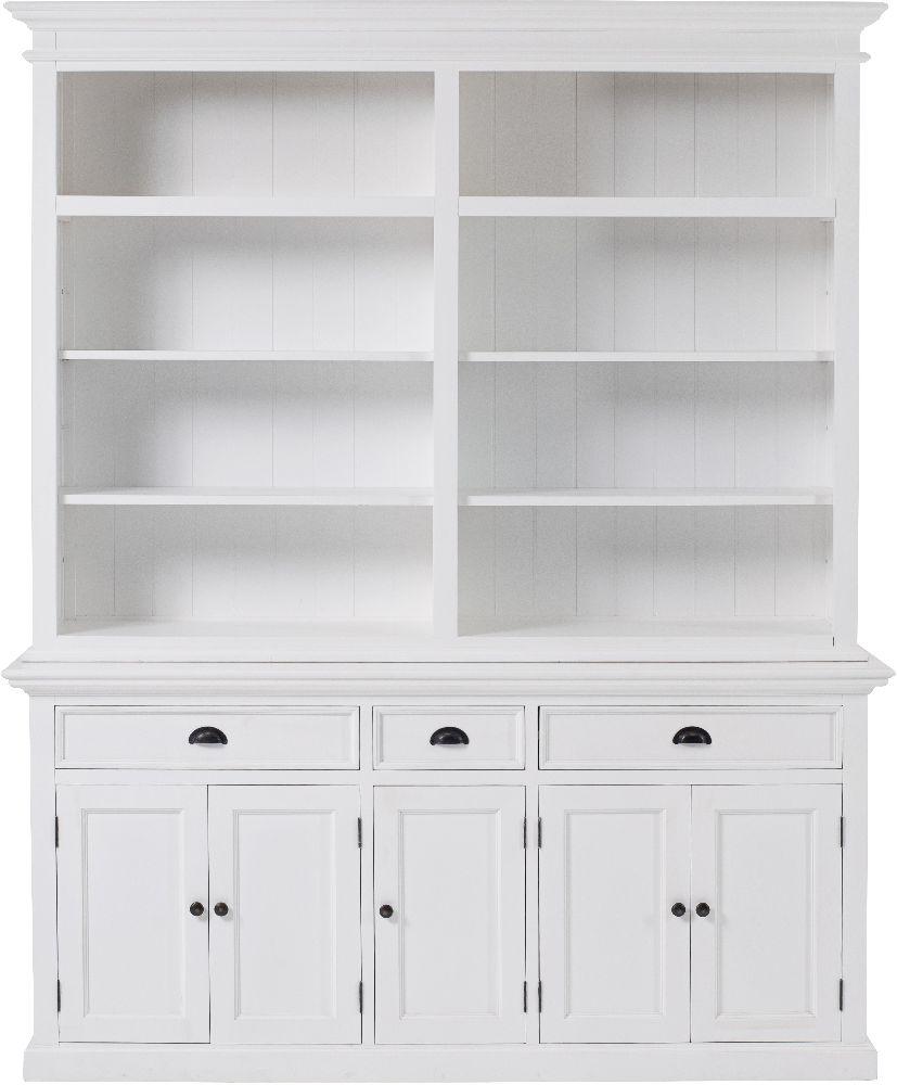 Nova Solo Halifax White 5 Door 3 Drawer Hutch Bookcase