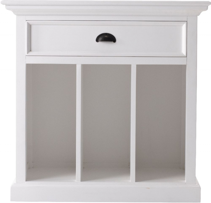Nova Solo Halifax Grand White Bedside Table with Dividers