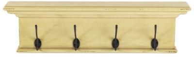 Nova Solo Halifax Yellow and Antique Brown 4 Hook Coat Rack