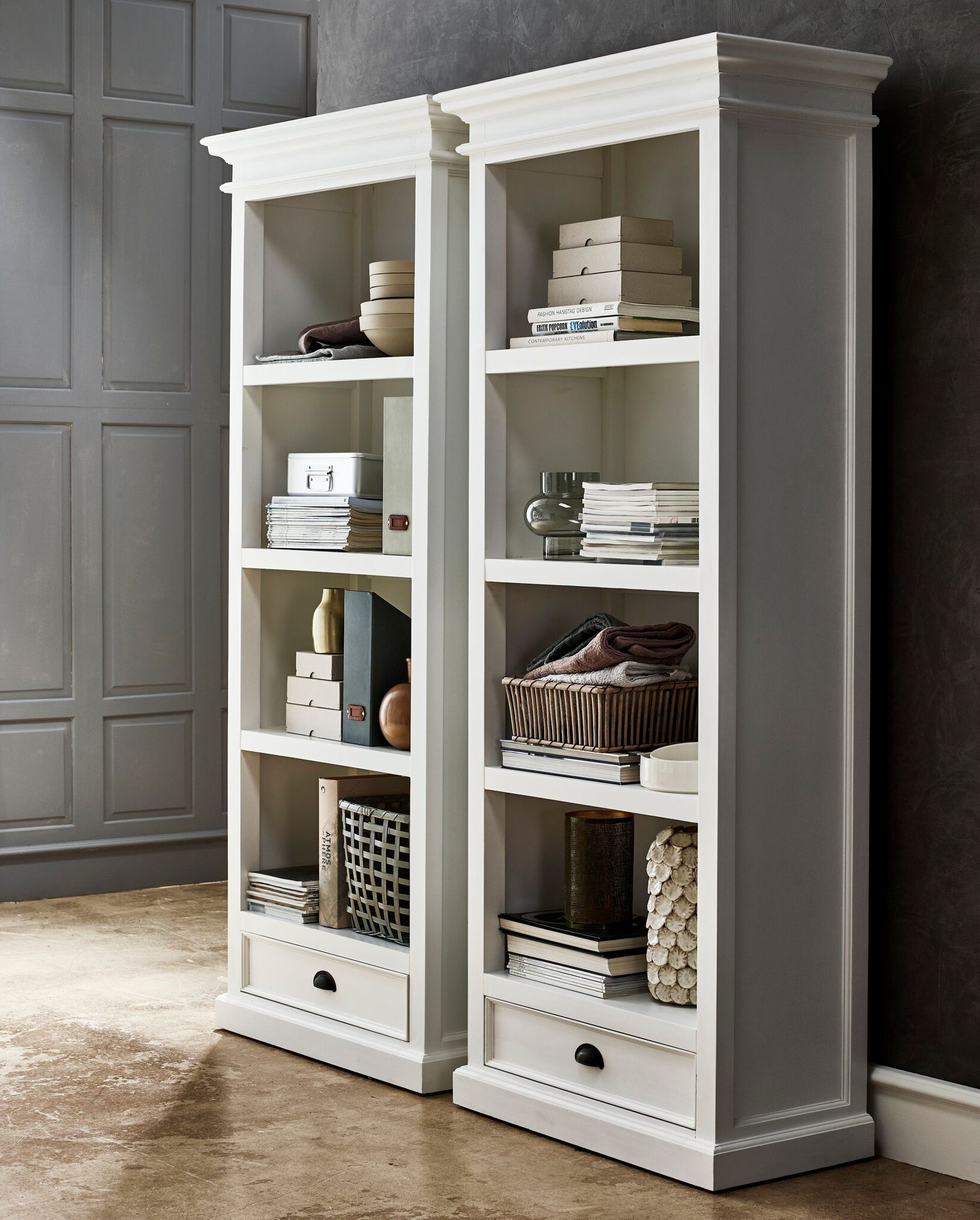 Nova Solo Halifax White Painted Bookcase - 1 Drawer