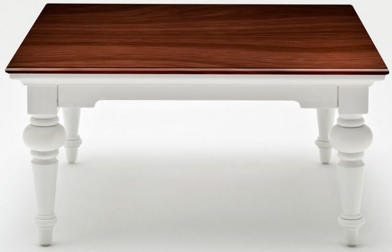 Nova Solo Provence Accent Square Coffee Table - White and Brown