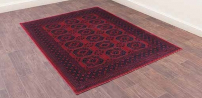 Oushak Afghan Red Luxury Polyester Rug