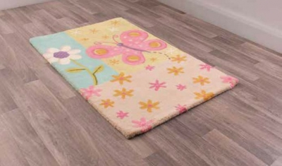 Unique Kids Butterfly Childrens Handmade Wool Rug