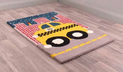Unique Kids Taxi Childrens Handmade Wool Rug