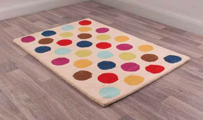Unique Kids Spot the Colours Childrens Handmade Wool Rug