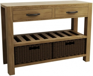 Qualita Goliath Oak Console Table - Double Basket