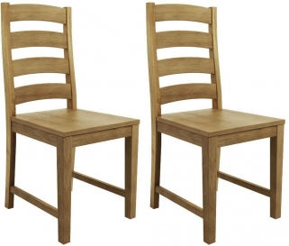 Qualita Goliath Oak Dining Chair with Wooden Seat (Pair)