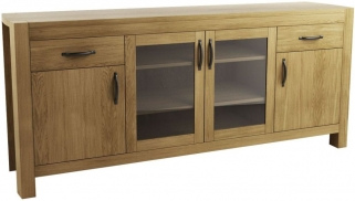 Qualita Goliath Oak 2 Wood and 2 Glass Door Wide Sideboard