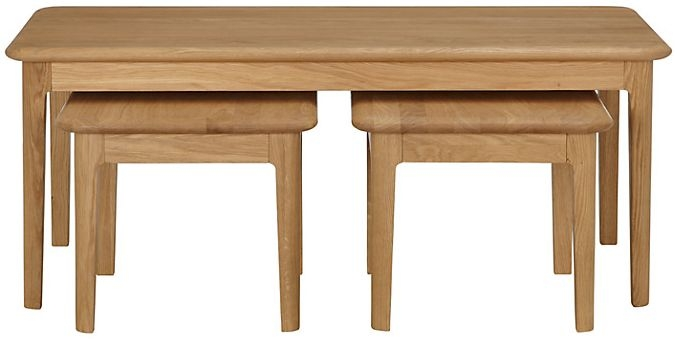 Qualita Hudson Oak Nest of 3 Coffee Tables