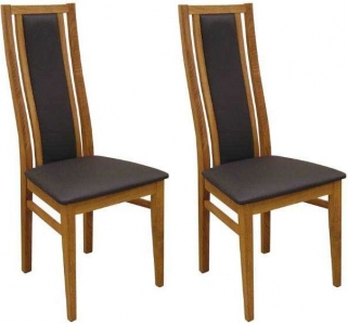 Qualita Sims Oak Dining Chair - Black (Pair)