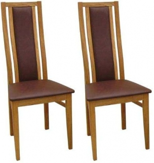 Qualita Sims Oak Dining Chair - Brown (Pair)