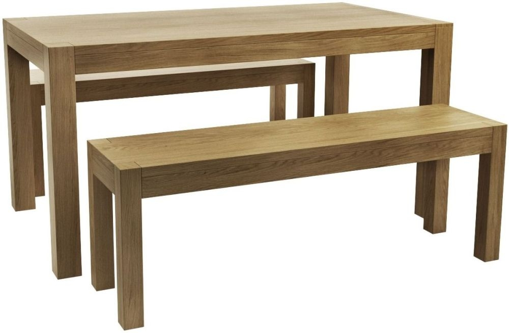 Qualita Sims Oak Dining Set with 2 Benches