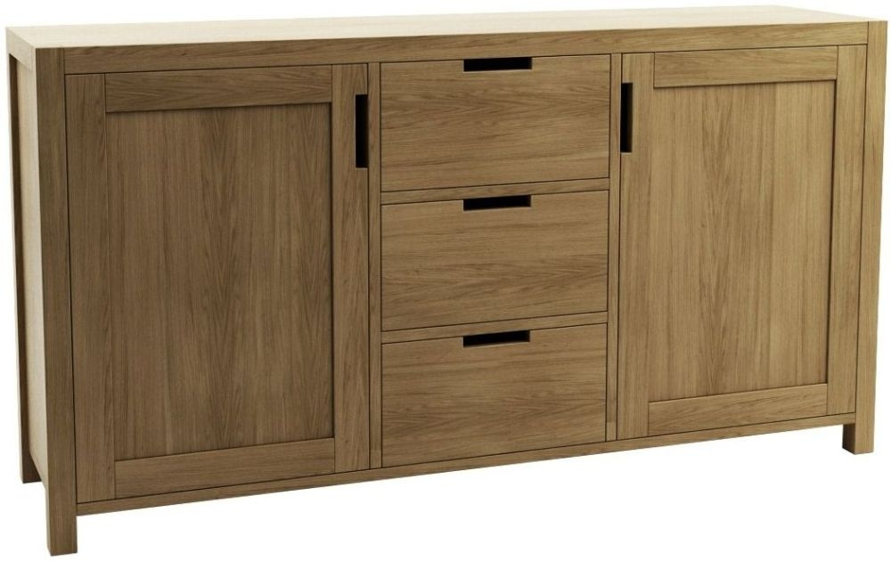 Qualita Sims Oak 2 Door 3 Drawer Wide Sideboard