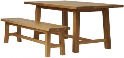 Qualita Trinity Oak Dining Set with 2 Benches