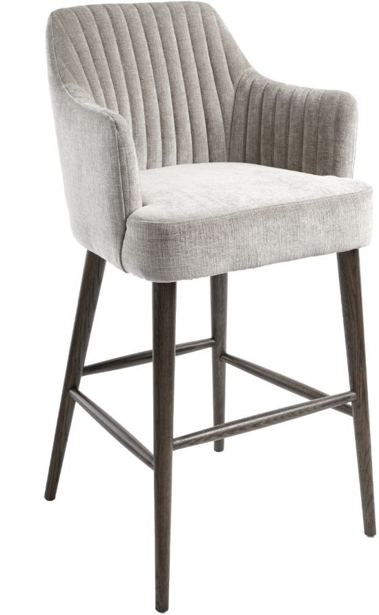 RV Astley Blisco Chenille Fabric Bar Stool - Latte and Grey
