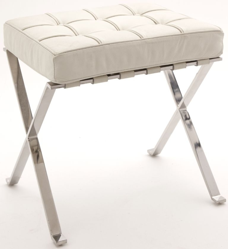 RV Astley White Faux Leather Stool