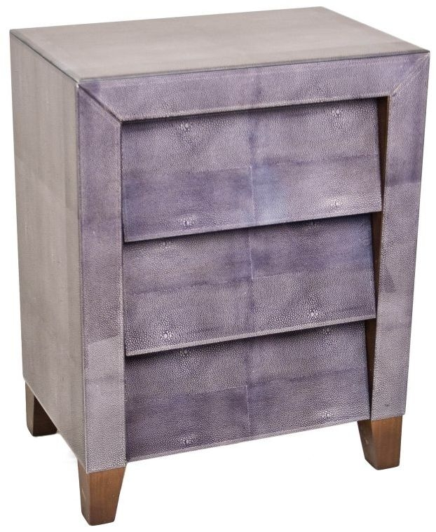 RV Astley Dark Grey Shargreen Printed Glass Bedside Cabinet - 3 Drawer