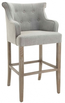 RV Astley Gala High Stool in Grey Linen Mix