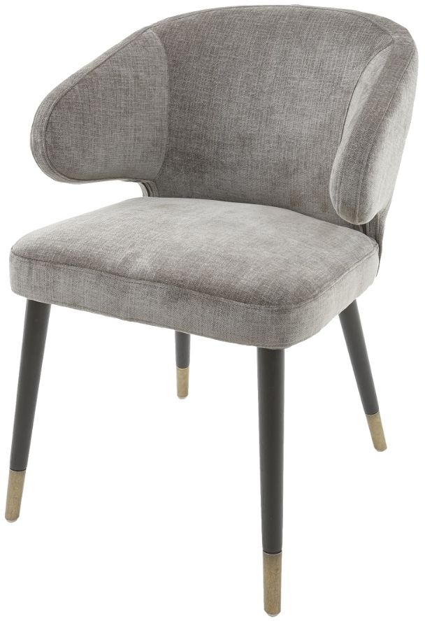 Fantastic Rv Astley Arrone Grey Chenille Fabric Dining Chair Pair Interior Design Ideas Tzicisoteloinfo
