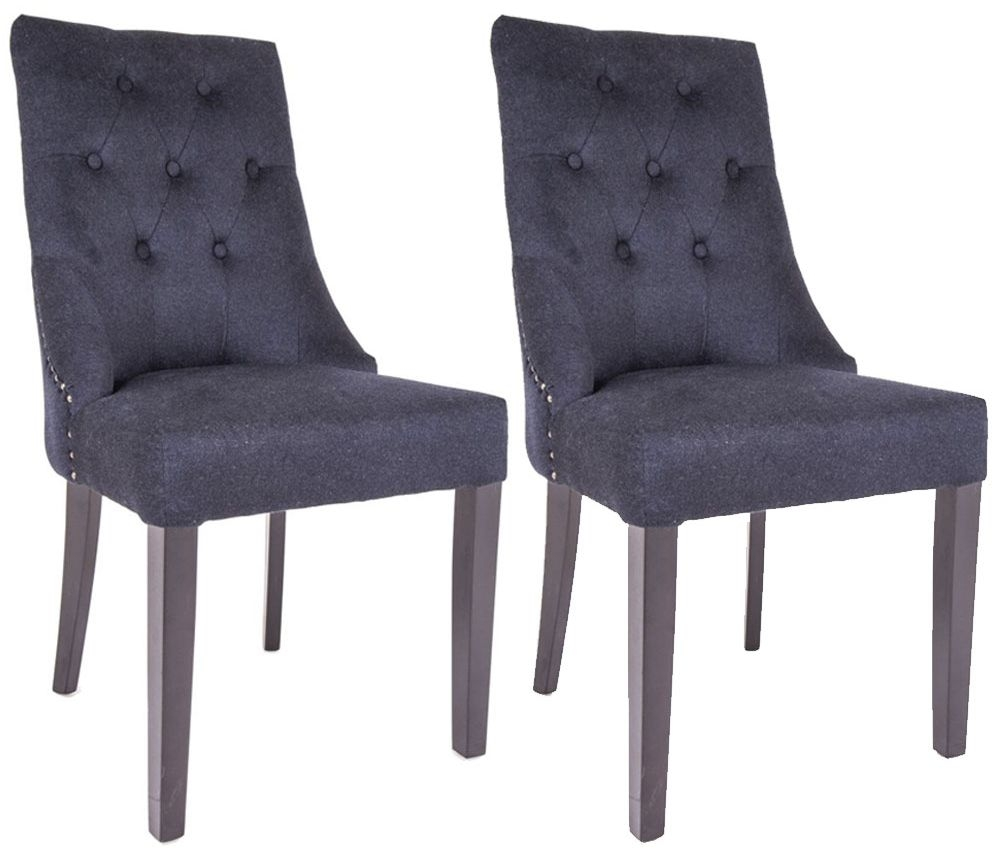 RV Astley Cara Black Wool Blend Dining Chair (Pair)