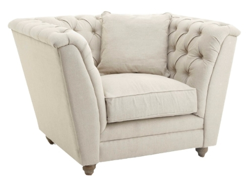 RV Astley Charee Natural Linen Armchair - 1 Seater