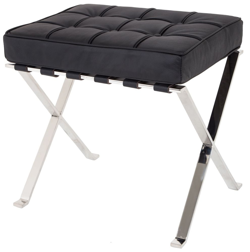 RV Astley H50cm Black Leather Cushion Sienna Stool