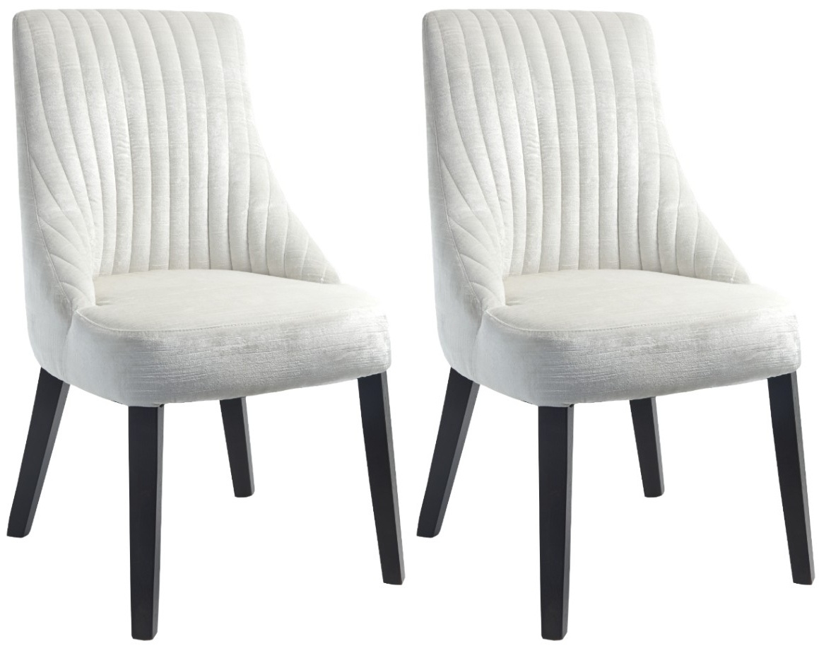 Rv astley halwell white dining chair with oyster velvet pair