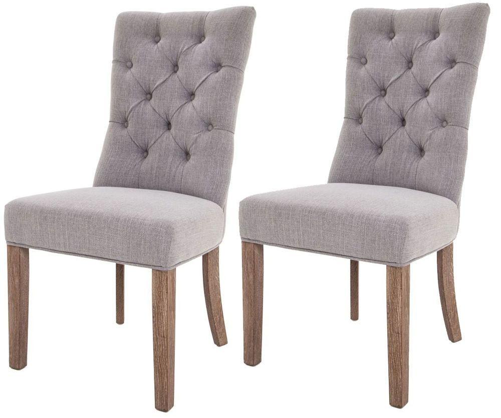 Grey Dining Room Chairs: Buy RV Astley Grey Linen Dining Chair (Pair) Online