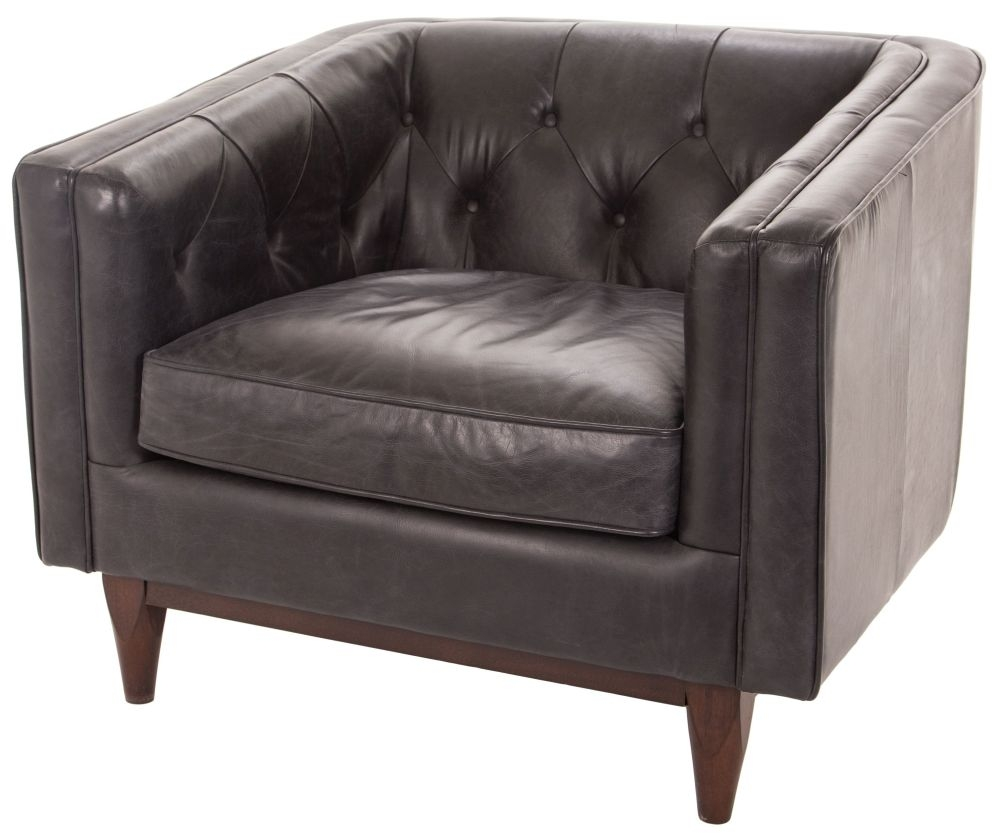 RV Astley Natty in Oxford Black Leather Armchair