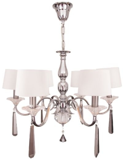 RV Astley 6 Arm Nickel and Black Crystal Chandelier with Opal Shade
