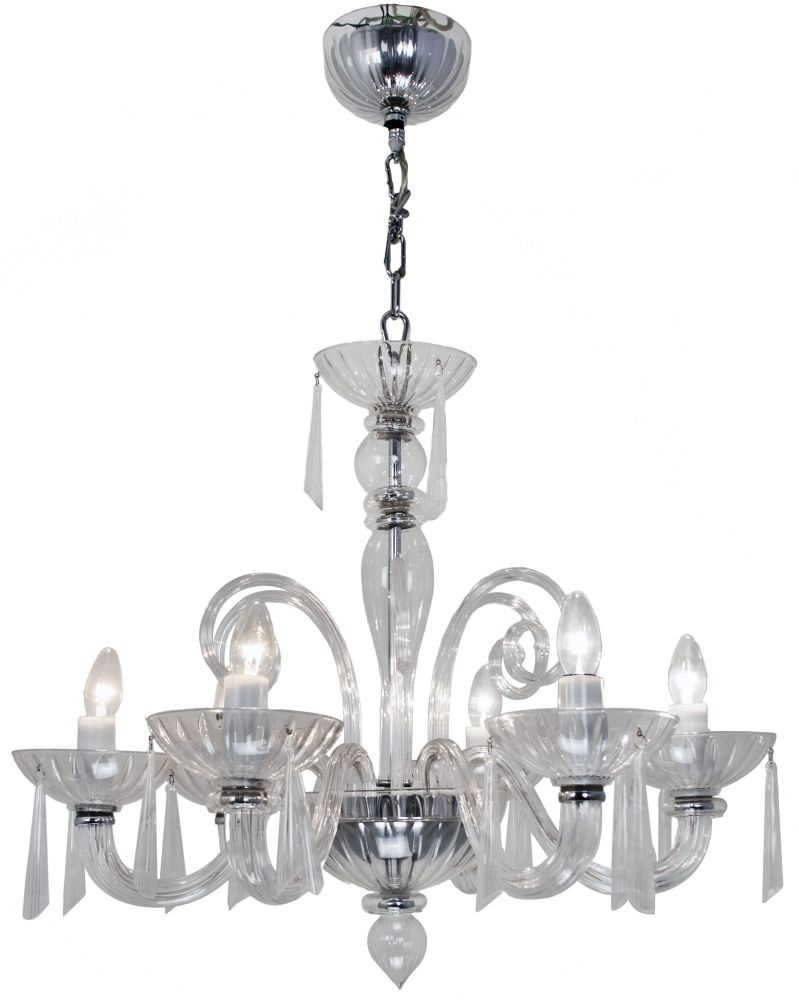 RV Astley 6 Branch Clear Chandelier