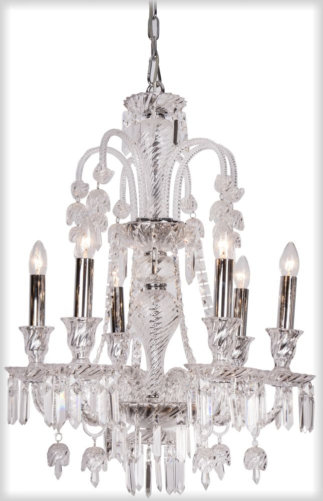 RV Astley Elegance 6 Branch Clear Glass Chandelier