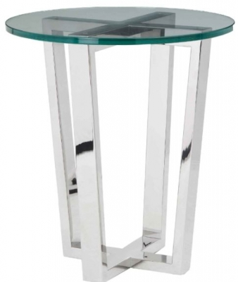 RV Astley Brenzette SS Tempered Glass Side Table