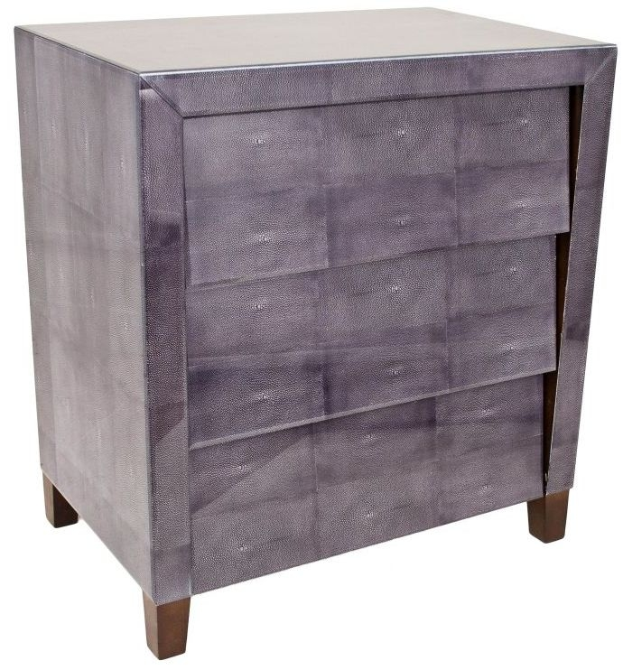 RV Astley Printed Dark Grey Shagreen Glass 3 Drawer Chest