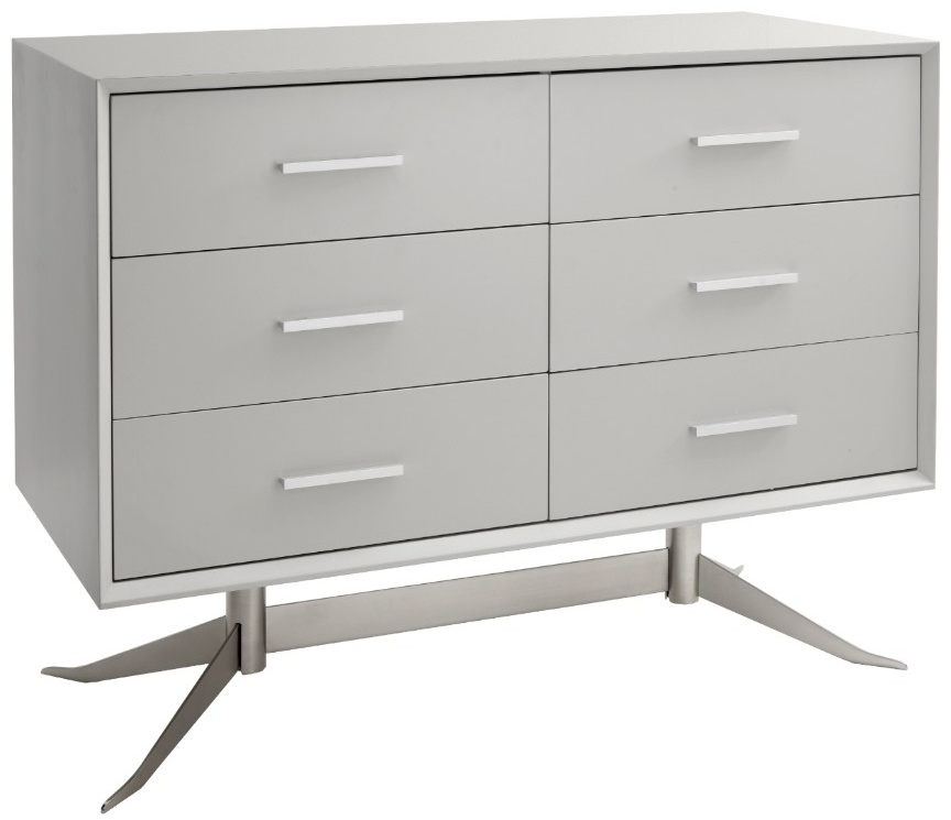 RV Astley Southbank Soft Grey Semi Matt Chest of Drawer - 6 Drawer