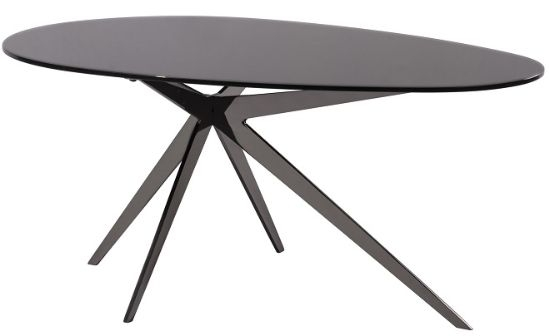 RV Astley Breen Coffee Table - Black Glass and Black Nickel