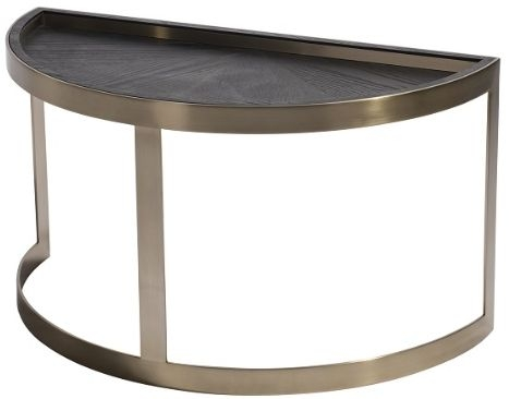RV Astley May Half Moon Coffee Table - Antique Brass and Metal