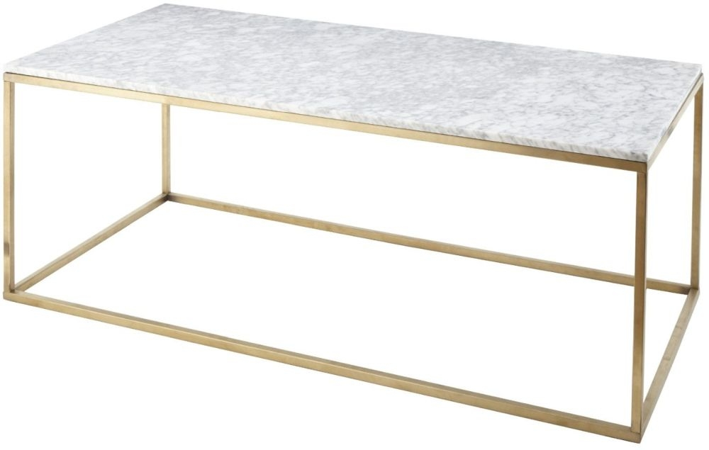 RV Astley Alois White Marble and Antique Brass Coffee Table