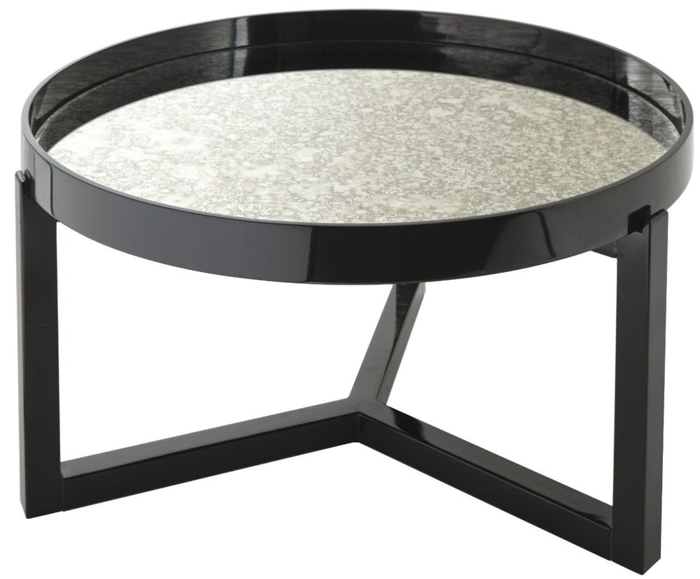 RV Astley Fyne Black Gloss and Antique Mirrored Coffee Table