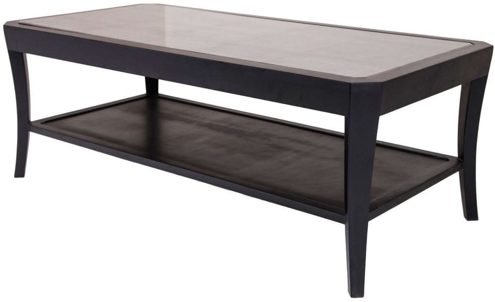 RV Astley Hyde Black Glass 1 Shelf Coffee Table