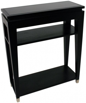RV Astley Black Console Table - Glass Top 2 Shelves