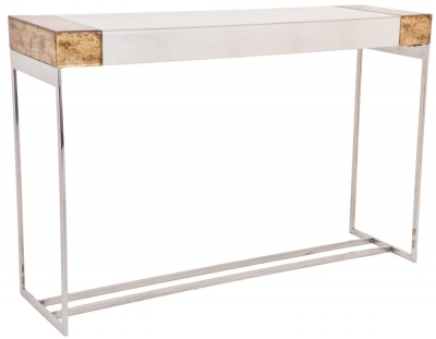 RV Astley Capel Printed Glass And Ss Frame Console Table