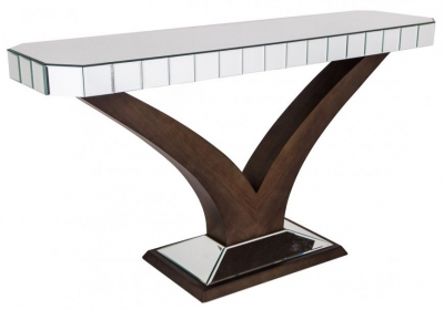 RV Astley Elmire Mirrored Console with Walnut Base