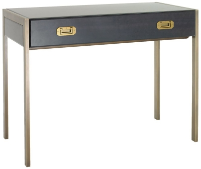 RV Astley Ettore Antique Brass Console Table - 1 Drawer